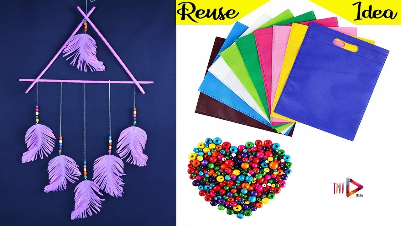 DIY Feather Wall Hanging Using Shopping Bag   Waste Material Home Decoration Crafts