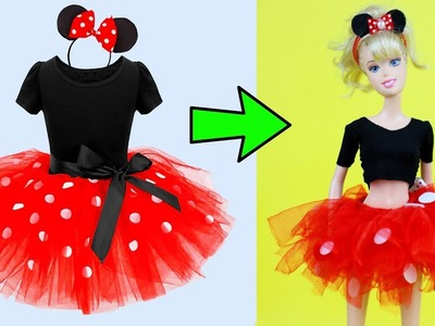 DIY Minnie Mouse Costume Fancy Tutu Dress For Barbie | Ear Headband Party Outfits