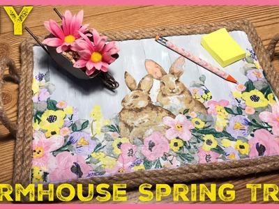 DIY Rustic Farmhouse Spring. Easter Decor Tray - Dollar Tree. Walmart DIY