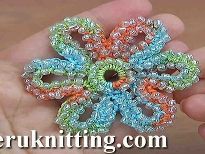 How to Crochet 6-Petal Beaded Flower Tutorial 158