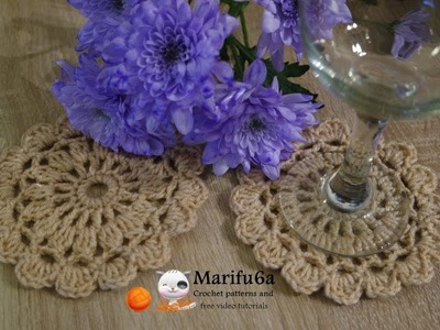 How to crochet beige crochet coaster hot pad for beginners free pattern