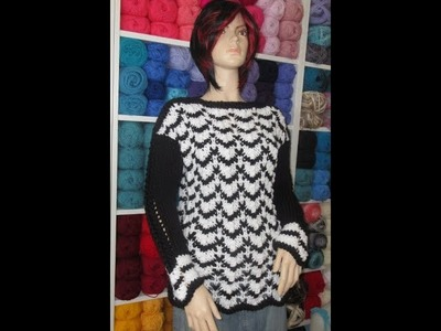How to knit black and white sweater