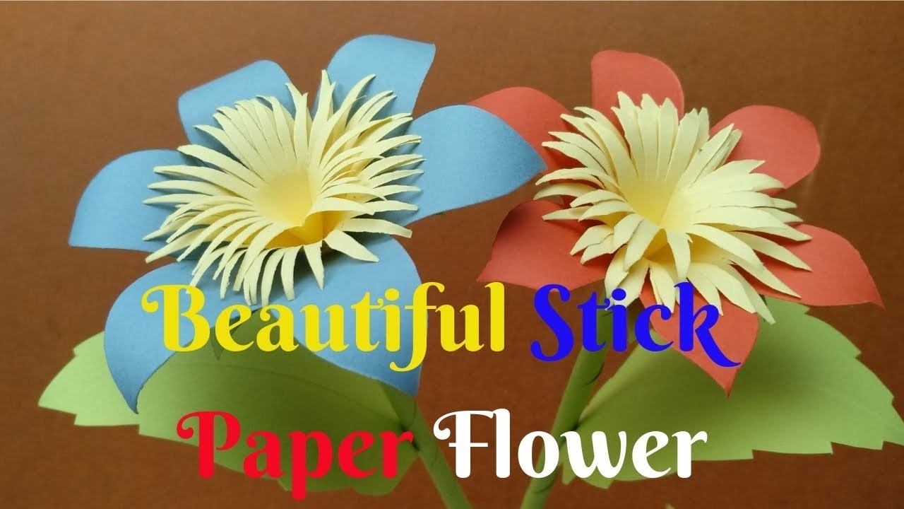 How To Make Beautiful Stick Flower From Paper 1 Diy Crafts Paper