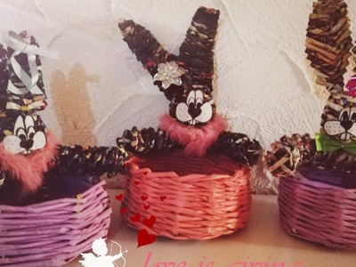 How to make Easter Bunny Basket - Whole process from painting to knitting