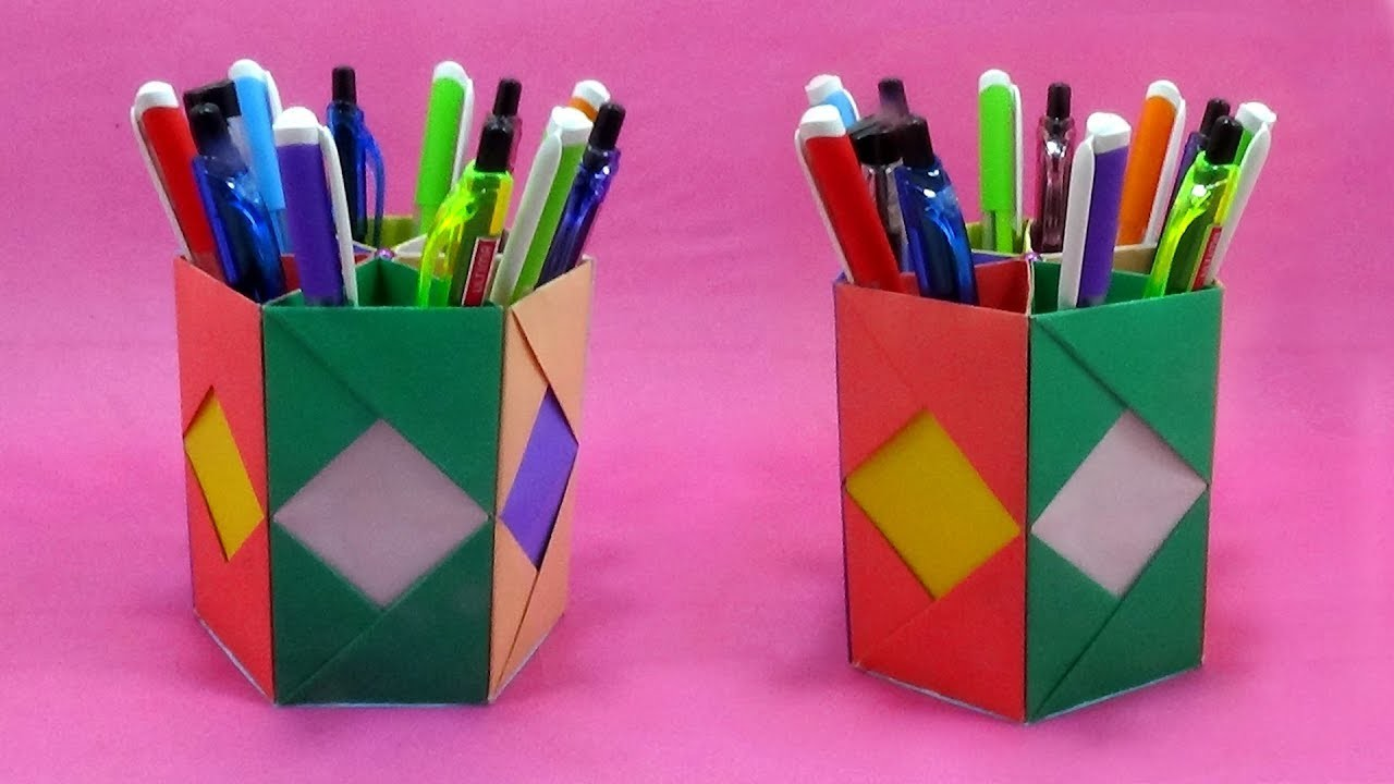 How To Make Paper Pen Stand Easy | Origami Pen.Pencil Holder Making | Paper Crafts Ideas