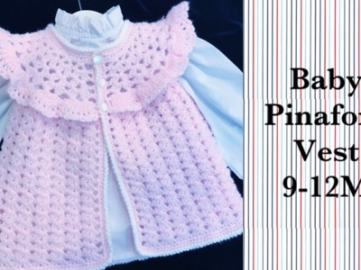 LEFT- How to crochet easy pinafore style sweater vest for baby girls 6-18M by Crochet for Baby #179
