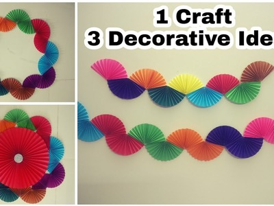 Rainbow Paper Fan Garland | DIY | Paper Craft | Easy Party Decoration Ideas