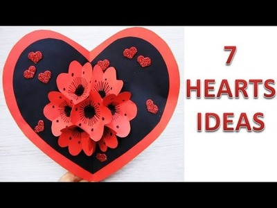 7 Wall Decoration Ideas. Heart Design Valentine's Day Room Decor Ideas. Paper Flower Wall Hanging