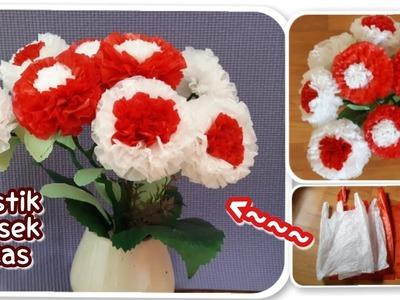 Cara membuat bunga dwi warna dari plastik kresek bekas