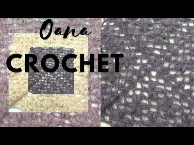 Crochet puff flower square by Oana