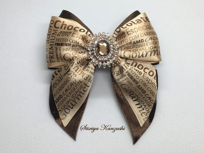 DIY. The decoration on the elastic hairband Kanzashi. Chocolate bow