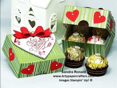 Easy Valentines Gift Box for 4 Ferrero Rocher - SandraR Stampin' Up! Demonstrator Independent
