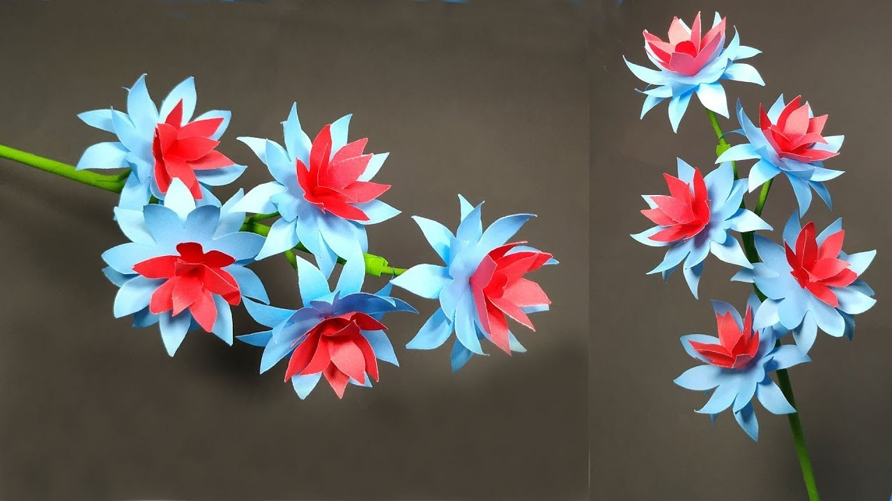 Handcraft Flower: How to Make Paper Stick Flower Easy Making Idea || Jarine's Crafty Creation