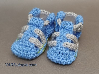 How to Crochet Tutorial: DIY Baby Hiking Sandals by YARNutopia