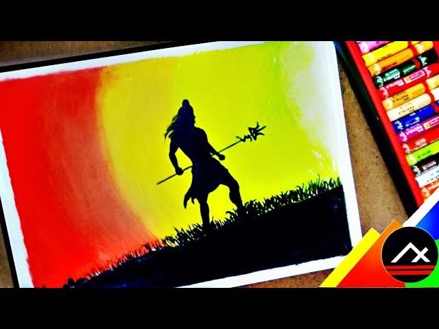 How to draw Lord Shiva with Oil Pastels for beginners step by step || lord Shiva Drawings || ARTXONE