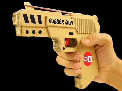 How to make Amazing Rubber Band Gun from Cardboard | DIY Gun