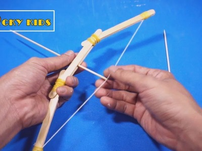 Make simple bow from rubber band & popsicle stick - Spend 2 minutes - Bow and arrow for kids