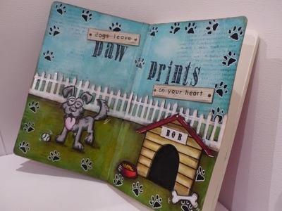"My art journal ""paw prints"" (crazy dogs Tim Holtz stamp set)"