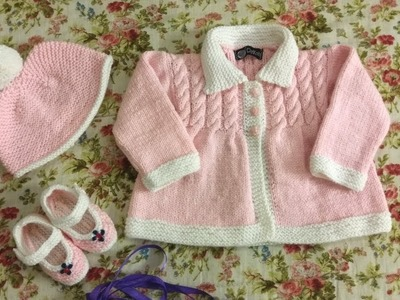 Pink knitted cable design frock,cap,booties set for baby girl By Clydknits.