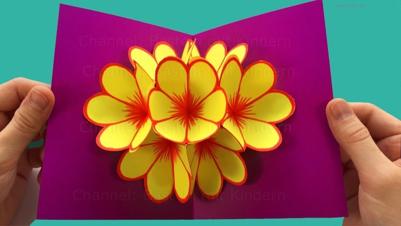 Pop-Up Card Flower - Mother's Day Crafts - Pop up card Mother's Day