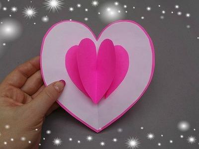 Pop up card - Heart. Valentine's day pop up card - Gift idea. Valentine's day crafts.