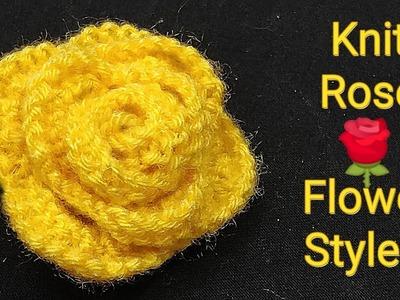 गुलाब ???? बुनाई तरीका न. 2,  Knit Rose Flower Style 2