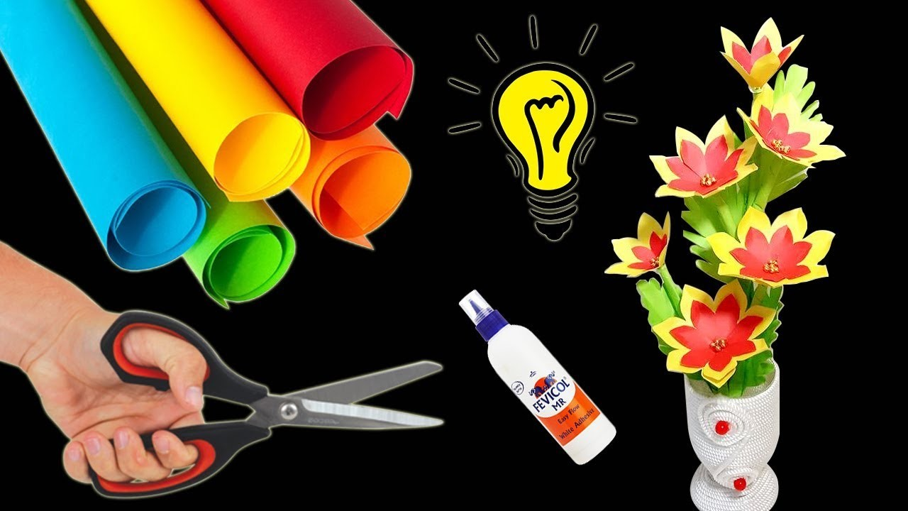 Awesome paper flowers making idea | Paper Craft Flower Making | Paper flowers for Decoration