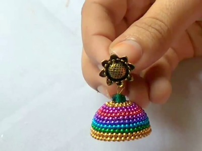 Ball chain jhumka l silk thread Jhumka | Traditional & Fancy multicolor SilkThread Jhumka | Tutorial