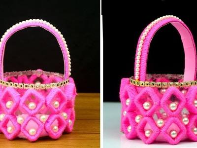 DIY Basket Craft Idea || How to Make Basket from Newspaper & Plastic Bottle || Home Decor
