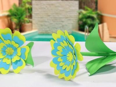 DIY Colorful Paper Flower - Easy Paper Flower Making Tutorial - Paper Flower Craft Ideas 2019
