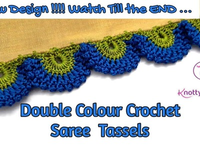 Double Colour Crochet Saree Tassels with Picot Stitch | Peacock Feather Design-www.knottythreadz.com