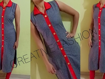 Front slit kurti with open collar cutting stitching.