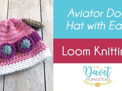 Girl Dog Aviator Hat with Ears - Loom Knitted