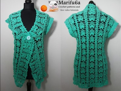 How to crochet easy green cardigan jacket pattern by marifu6a
