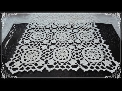 How to Crochet EDGE.Border to Lace Motif for Tablecloth or Pillowcase 3*