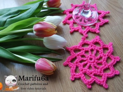 How to crochet pink coaster hot pad for beginners free pattern