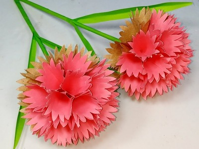 How to Make Beautiful Paper Round Flower with Stick!! DIY Paper Craft | Abigail Paper Crafts