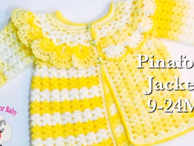 LEFT How to crochet easy pinafore baby sweater cardigan jacket | Girls 12-18M -Crochet for Baby #181