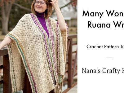 Many Wonders Ruana Wrap Crochet Pattern Tutorial