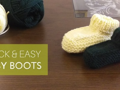 Quick and easy BABY BOOTS.Socks. How to knit In Urdu By Clydknits.