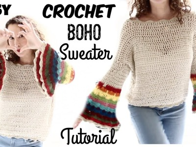 Spring boho sweater Easy Tutorial Part 1