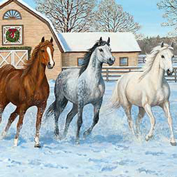 Horses In Snow Cross Stitch Pattern***LOOK***X***INSTANT DOWNLOAD***