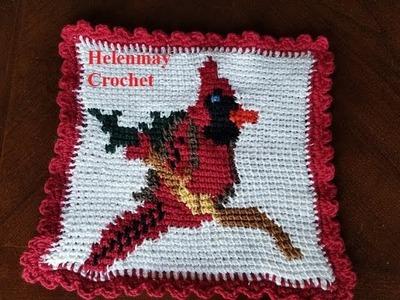 Tunisian Crochet Beginner Cardinal Bird Hotpad, Tawashi, or Pillow Part 1 of 4 DIY Video Tutorial