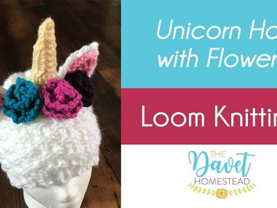 Unicorn Hat with Flowers - Loom Knitted