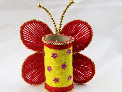 Amazing Woolen Crafts || How to Make Butterfly Pen Holder - Art for kids hub - DIY arts and crafts