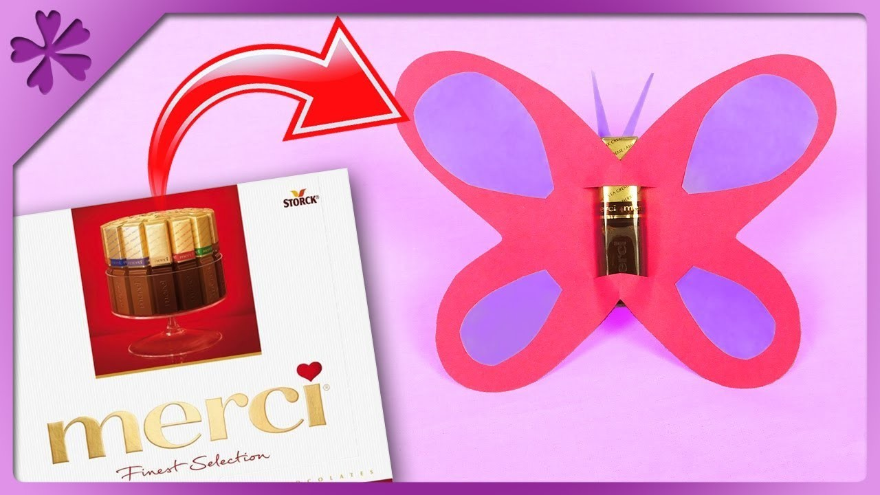 DIY How to make butterfly out of Merci chocolate (ENG Subtitles) - Speed up #529