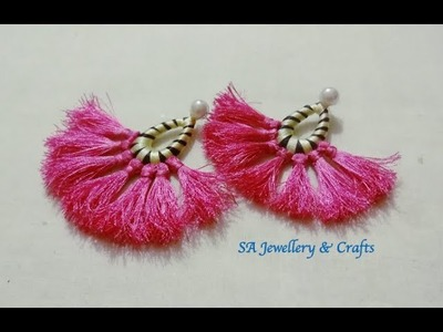 DIY Tassel Earring.How to make Silk thread Thilagam.Tassel Earrings at home