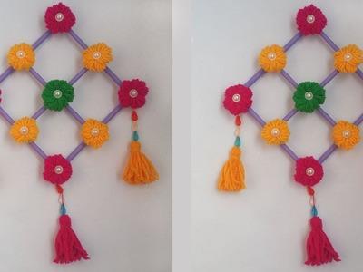 DIY. Woolen crafts!!! How to make woolen Flower Hanging for Home Decoration!!!