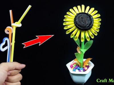 Drinking Straw Crafts -  Sunflower making with straws
