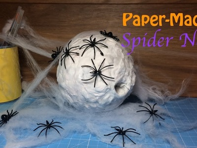 Easy How To Make a Paper Mache.Cotton Wool Halloween Spiders Nest Decoration